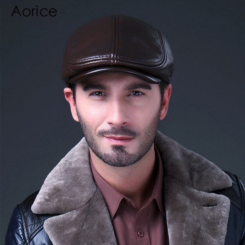 Aorice 2017 Autumn Winter News Men s Beret LBD BLACK Leather Style Flat Boy Cap Hat
