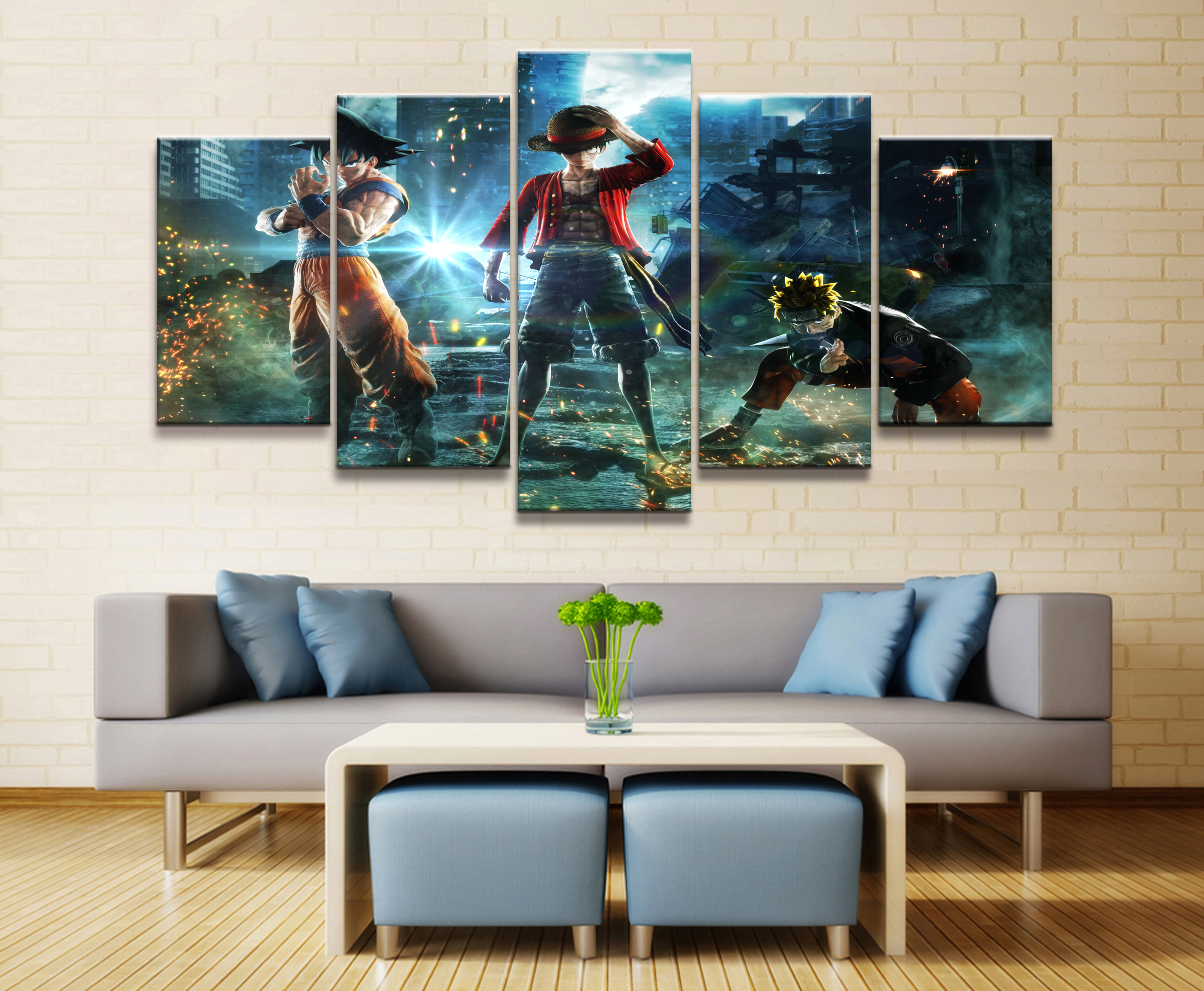Home Decor Modular Canvas Picture 5 Piece Naruto One Piece Dragon Ball Painting Poster Wall For Home Canvas Painting Wholesale in Painting Calligraphy from Home Garden