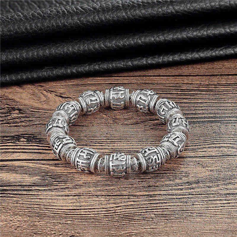Janeyacy ретро тибетский буддийский бронзовый браслет Будды из сплава шесть символов мантра Ом Мани Падме Хум металлический амулет мужской браслет