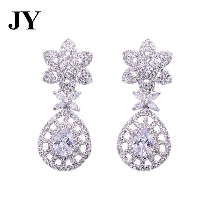 JY Fashion Luxury Party Earring White Zircon Elegant Anniversary Weddjing Best Love Gift For Women Special Design Charm Brincos
