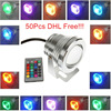 50pcs Black / Silver Color Case 10W Underwater LED Flood Wash Pool Waterproof Light Spot Lamp 12V Outdoor DHL/Fedex Free ship