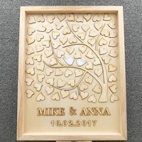 Personalised Wedding Guest book, Custom Drop top Drop box Wooden alternative GuestBook with 60 100 hearts, Rustic Wedding Gift