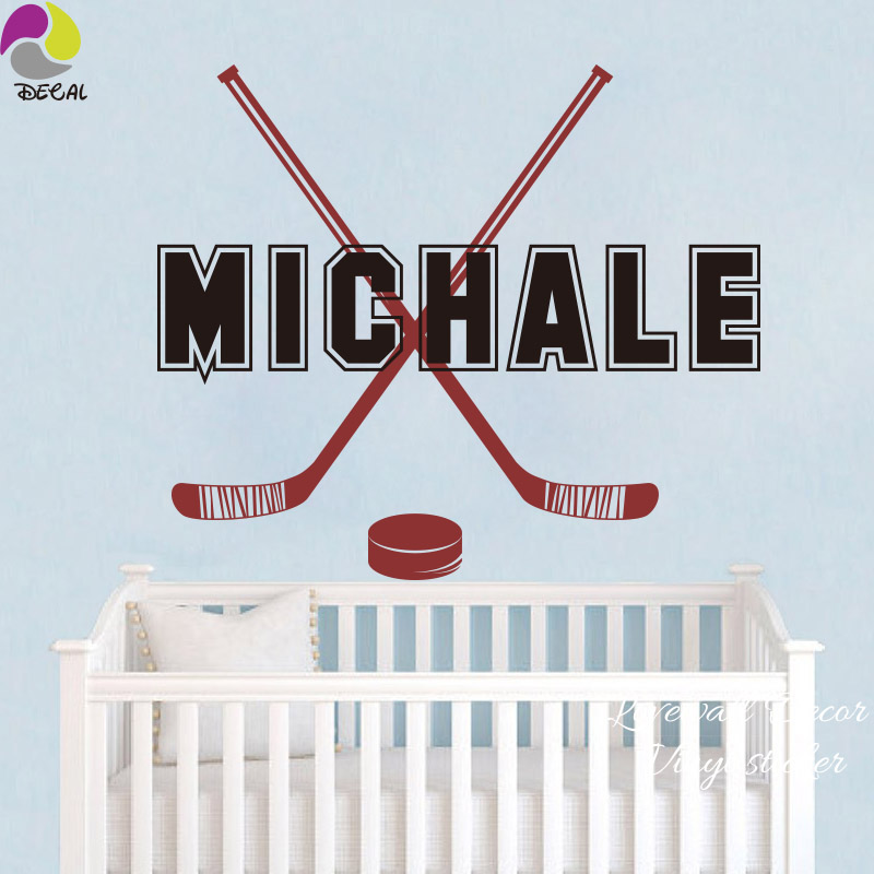 Custom Name Hockey Stick Wall Sticker Boy Room Personalized Name Sport Wall Decal Baby Nursery Kids Room Home Decor Vinyl poster