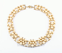 Pop Lady Milky Glass Simulated Pearl Luxury Choker Necklace