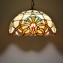 Tiffany Pendant Light Baroque Style Hanging Lamp Stained Glass Suspended Luminaire E27 110-240V