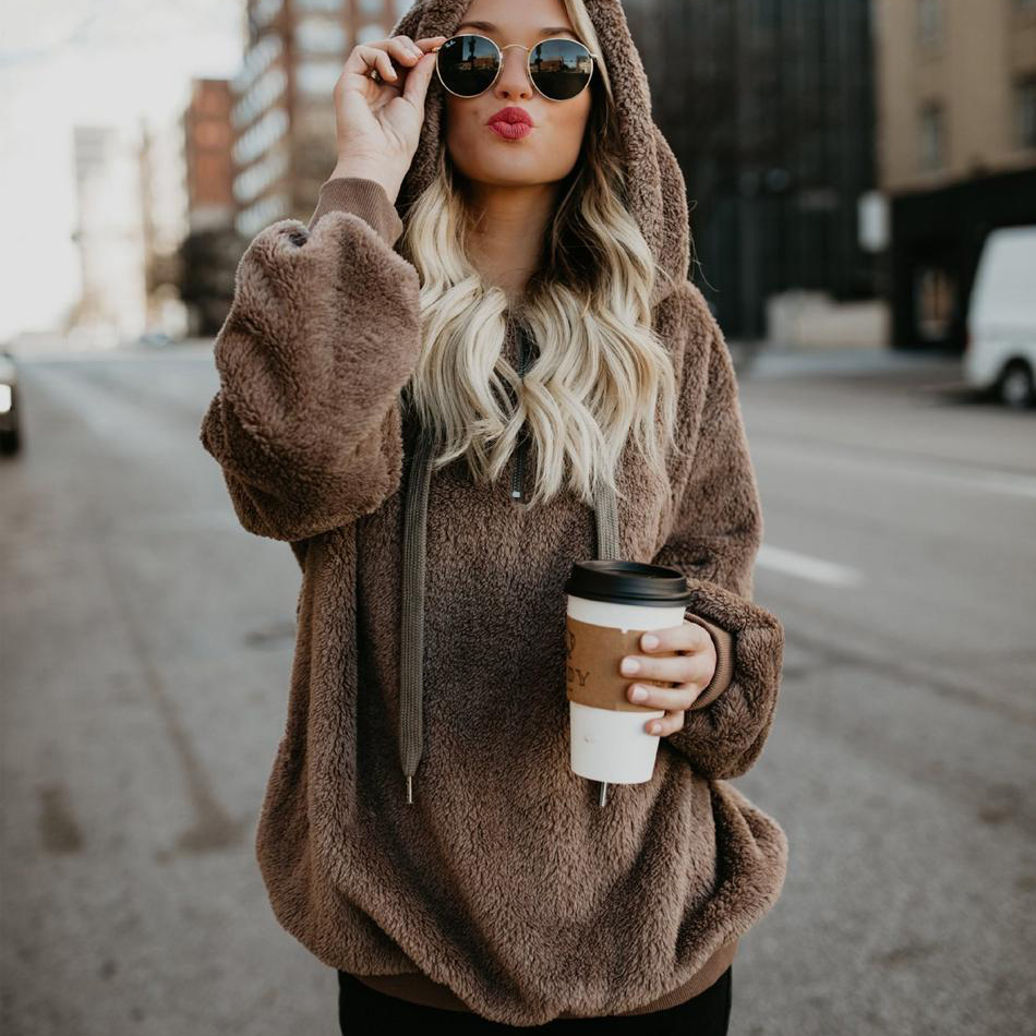 2018 Warm Hooded Sweater Women Thick Pullovers Women Outerwear Long Sleeve  Womens Sweater Oversized Jumpers Women Pull Femme