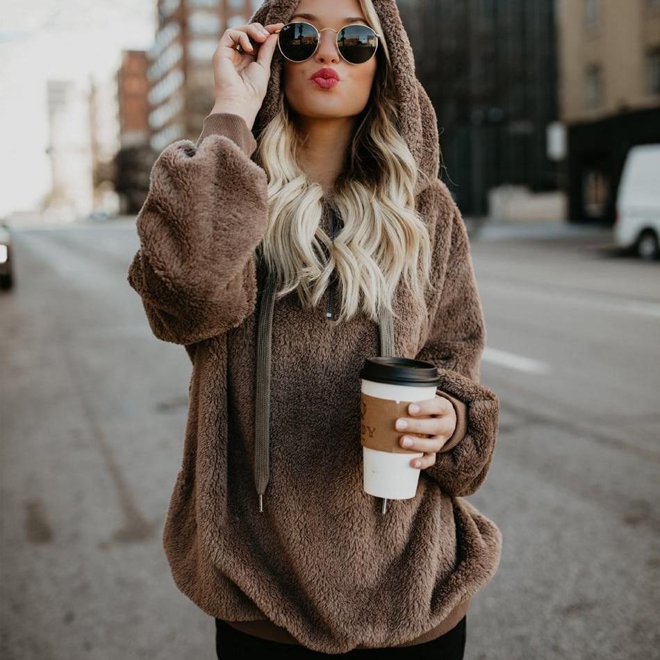 2018 Warm Hooded Sweater Women Thick Pullovers Women Outerwear Long Sleeve  Womens Sweater Oversized Jumpers Women Pull Femme