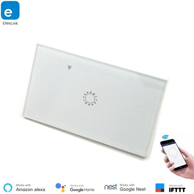 US Standard Type 120 WiFi Smart Switch Light Control  Glass Panel Touch Control eWelink App Work With Alexa Echo Google Home