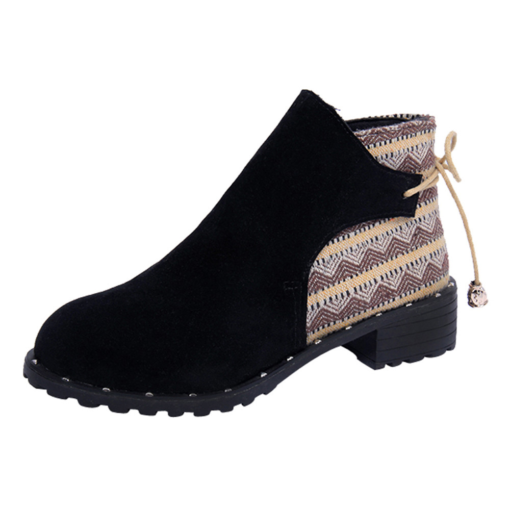 New2018 new style Flcok ankle boots Wedges Low Zipper Middle Tube Martin
