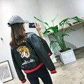Outono inverno 2016 New casual mulheres motorcyle jaquetas curtas casacos parágrafo tigre bordado bolso com zíper jaqueta de couro falso