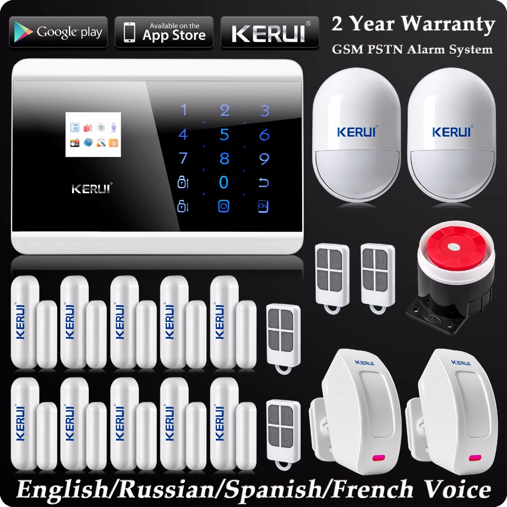 Kerui LCD Wireless Wired GSM SMS Home Alarm System Russian/Spanish/French Voice Wireless Curtain PIR Detector GSM PSTN Alarm french spanish english voice prompt wireless gsm sms pstn intrusion alarm system st iiib with pet immune pir sensor