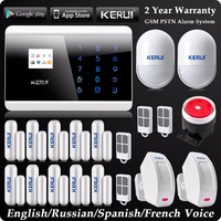 Kerui LCD Wireless Wired GSM SMS Home Alarm System Russian/Spanish/French Voice Wireless Curtain PIR Detector GSM PSTN Alarm