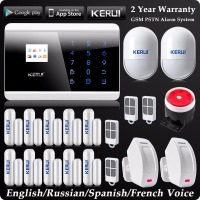 Kerui LCD Wireless Wired GSM SMS Home Alarm System Russian Spanish French Voice Wireless Curtain PIR