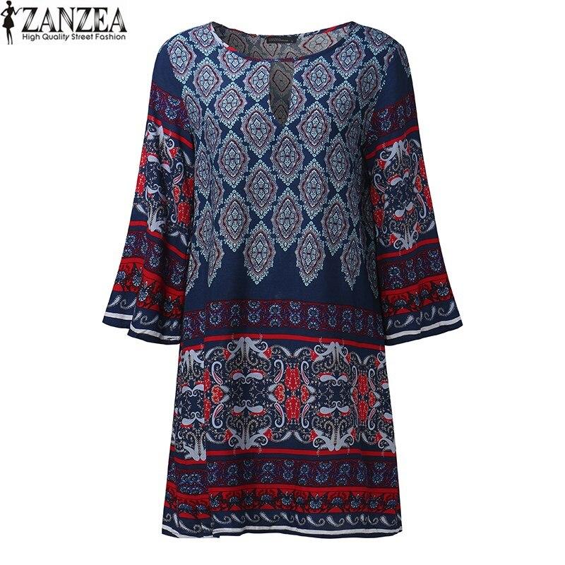 2018 ZANZEA Boho Women Floral Print O Neck Casual Beach Mini Dress Loose Retro Female Party Keyhole Baggy Shift Dress Plus Size