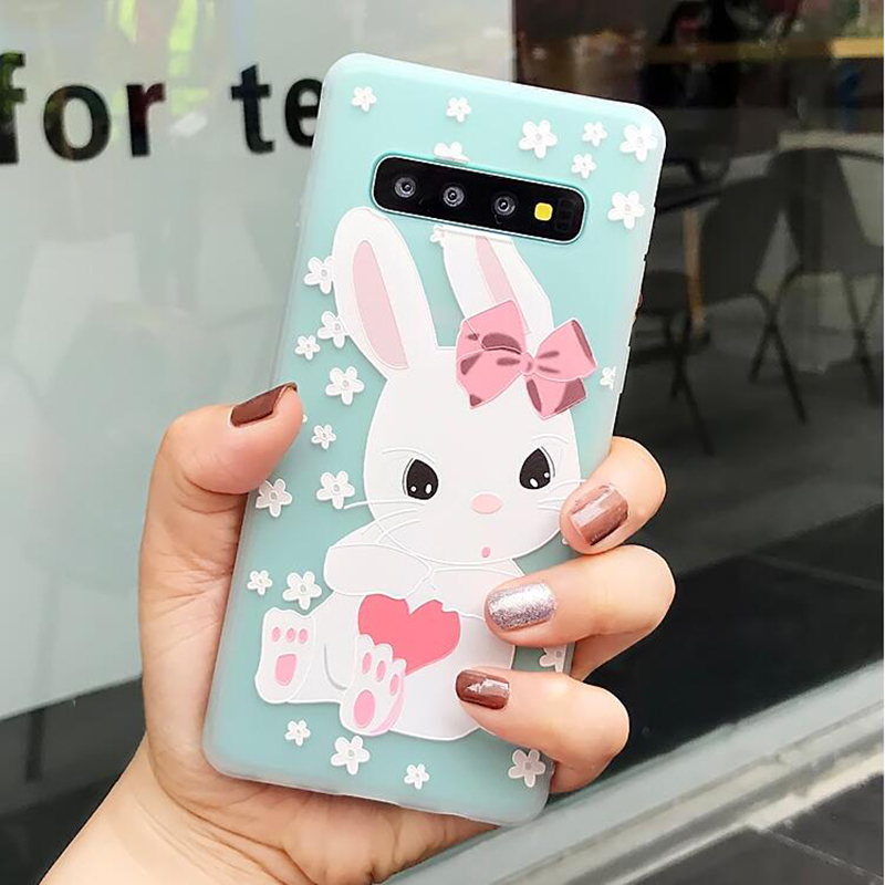YHBBCASES Relief Cute Rabbit Giraffe Phone Cover For Samsung Note 8 9 Cases For Samsung Galaxy S8 S9 S10 Plus Cartoon Soft Case in Fitted Cases from Cellphones Telecommunications