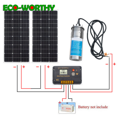 ECOworthy 200W Solar Panel DC 24V Deep Well Stainless Water Pump 20A controller Home Ranch Irrigation