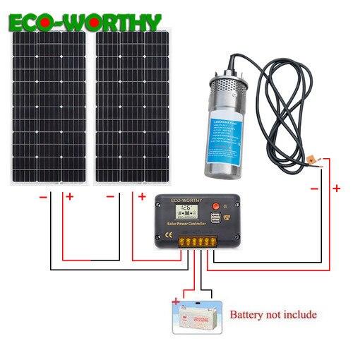ECOWORTHY 200W panneau solaire et DC 24V puits profond en acier inoxydable pompe à eau et 20A contrôleur maison Ranch Irrigation système de pompe à énergie solaire-in Systèmes d'énergie solaire from Electronique    1