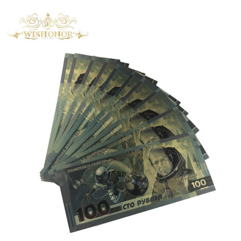 1 pçs 2019 novo para a rússia espaço cédula 100 rublo em 24k banhado a ouro dinheiro falso como presentes