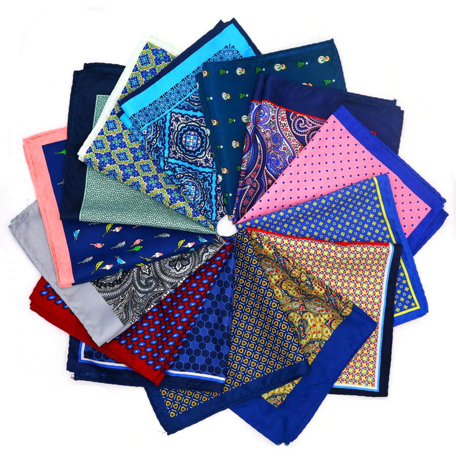 YISHLINE New Popular 32 X 32CM Large Handkerchief Man Paisley Flower Dot Pocket Square Men Paisley Casual Hankies For Men's Suit