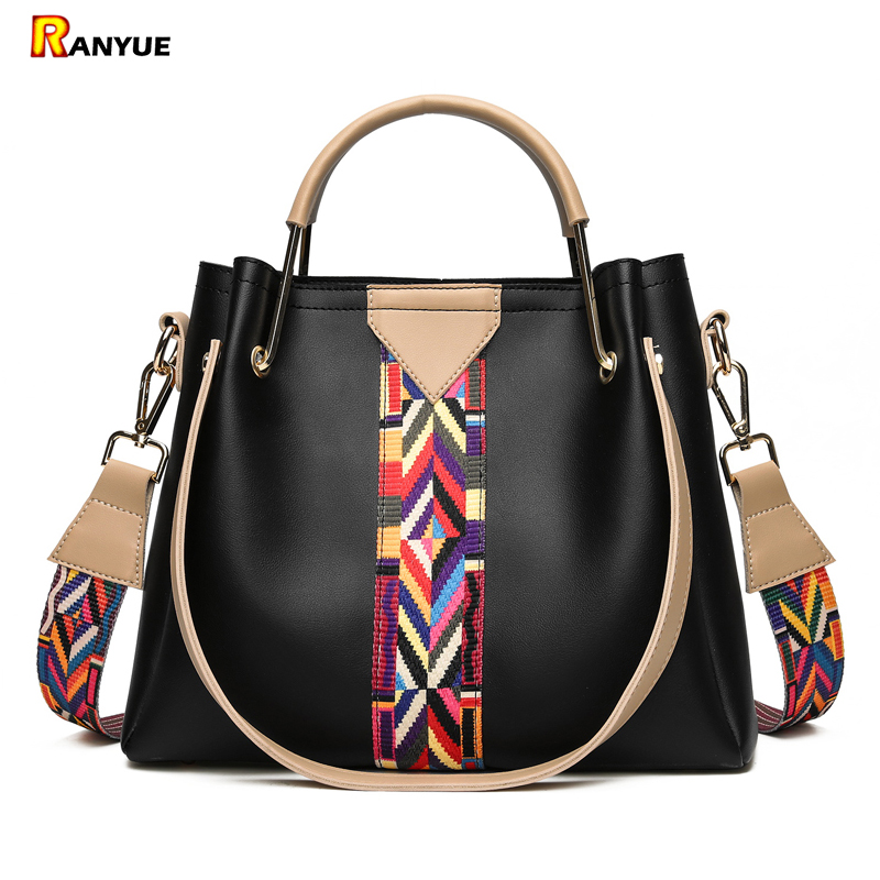 Fashion Colorful Strap Bucket Bag High Quality Pu Leather Tote Bag Women Handbags Shoulder Bags Famous Brand Designer Ladies Bag  nnew fashion women shoulder bags casual tote messenger bags famous designer pu leather high quality ladies handbags tfd171