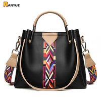 Fashion Colorful Strap Bucket Bag High Quality Pu Leather Tote Bag Women Handbags Shoulder Bags Famous