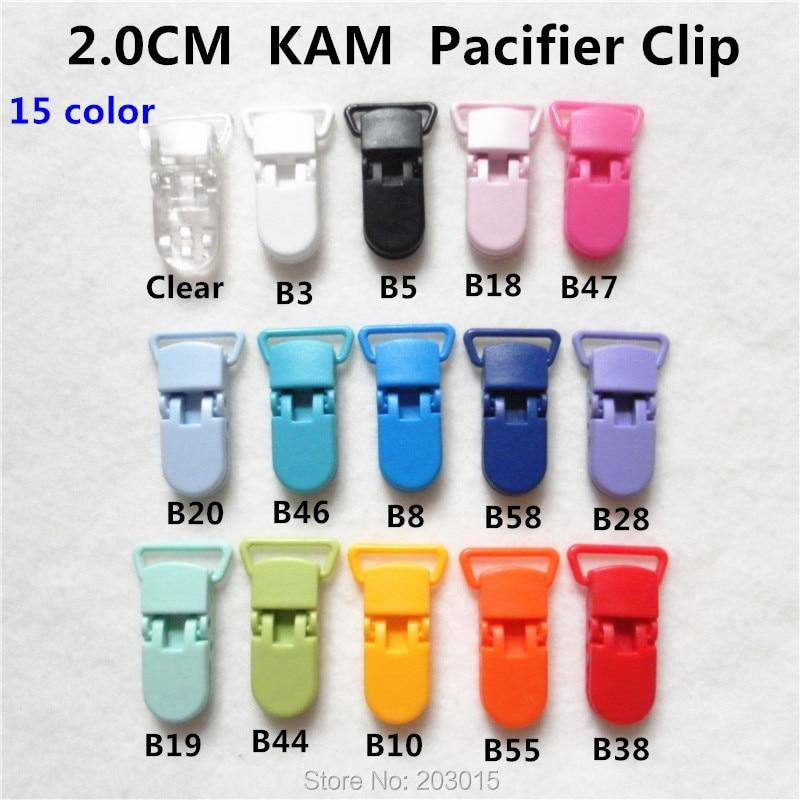 (15 color ) 150pcs Hot D shape 2.0CM  Kam plastic Baby Pacifier Dummy Chain Holder Clips Suspender Clip for 20mm ribbon