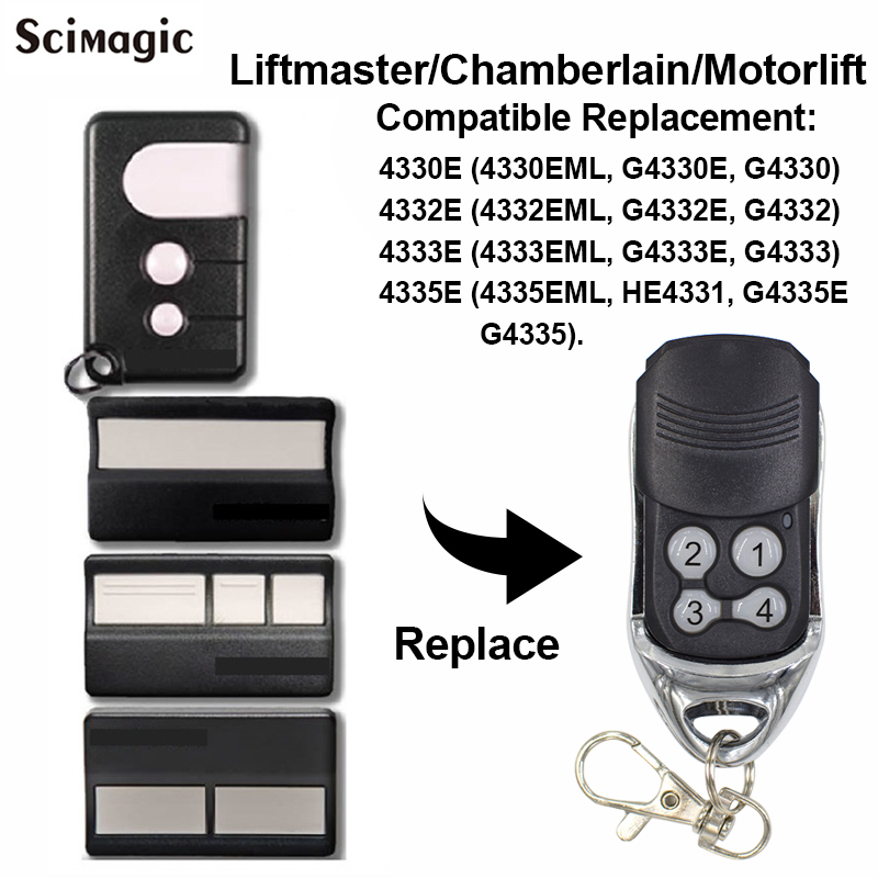 1pcs Chamberlain Liftmaster 4335E 4335EML Replacement Remote Control Garage Gate Key Fob Motorlift G4335E 433mhz Remote Garage
