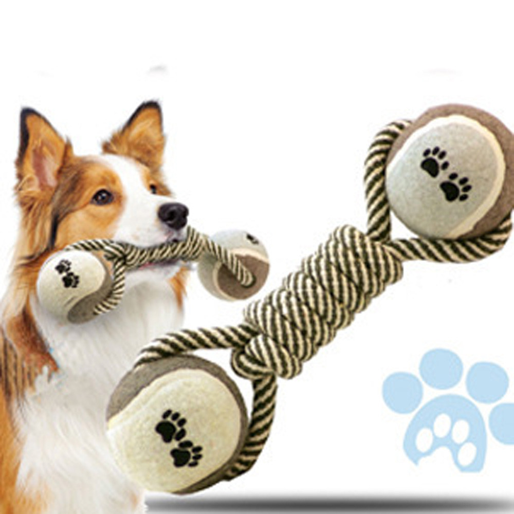26cm Elegant Dumbbell Rope Tennis Toy Biting Ball Pet Chew Toy Puppy Dog Clean Teeth Dog Toys Interactive Puppy Training Tool