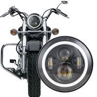 Motorcycle Black/Chrome Halo Angel Eye DRL Led Headlamp Harley Davidsion Softail Slim Fat Boy 7 Inch H4 LED Headlight