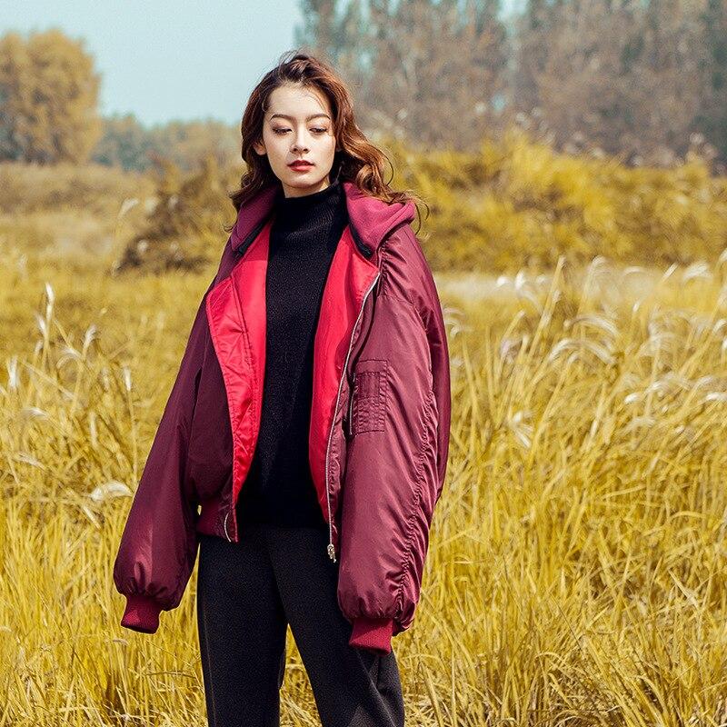 Lâche De Tops Couleur Fuchsia Zipper Porter Automne À Solide Double Manteau Vestes Capuche Hiver 2018 Mode Mélangé Dames face Femmes SwECIq