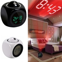 LED Display Time Digital Alarm Clock Talking Voice Prompt Thermometer Snooze Electronic With LCD Projection