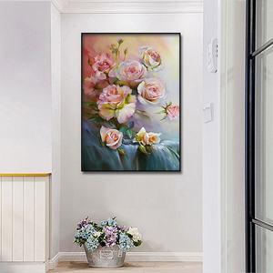 Image 3 - Classic rose pittura a olio di San Valentino Giorno decorativa poster e stampato Nordic pittura murale di arte della parete casa pittura decorativa