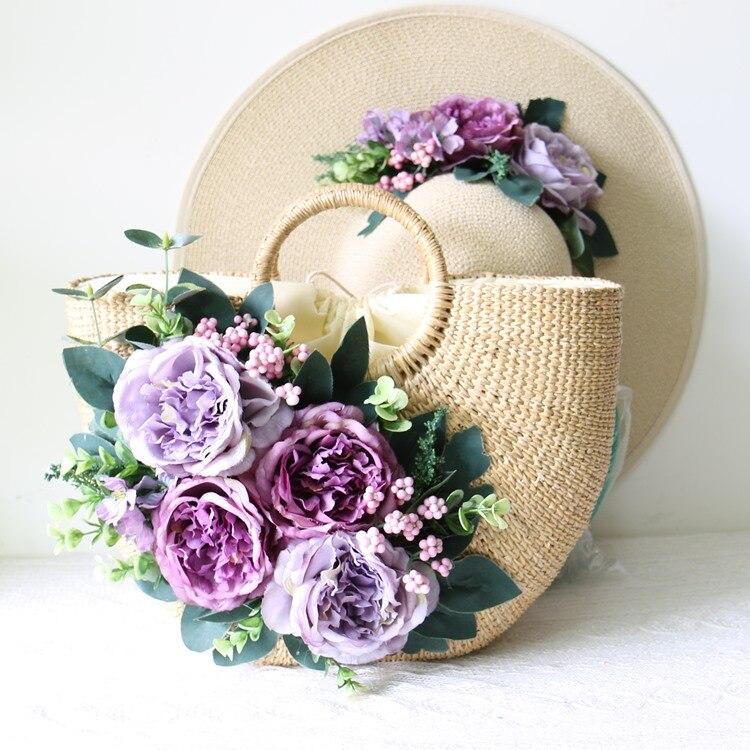 Bagaj ve Çantalar'ten Üstten Saplı Çanta'de Ulusal Vintage el yapımı çiçekler PLAJ HASıR ÇANTA yaz pastoral el kadın çantası ve rattan çim seyahat gezisi tatil çanta seti'da  Grup 1