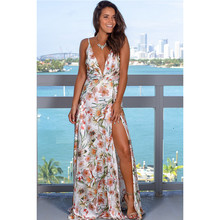 beach sexy backless off shoulder maxi dress white black yellow pink floral a line v neck flower ladies long dresses sundress(China)