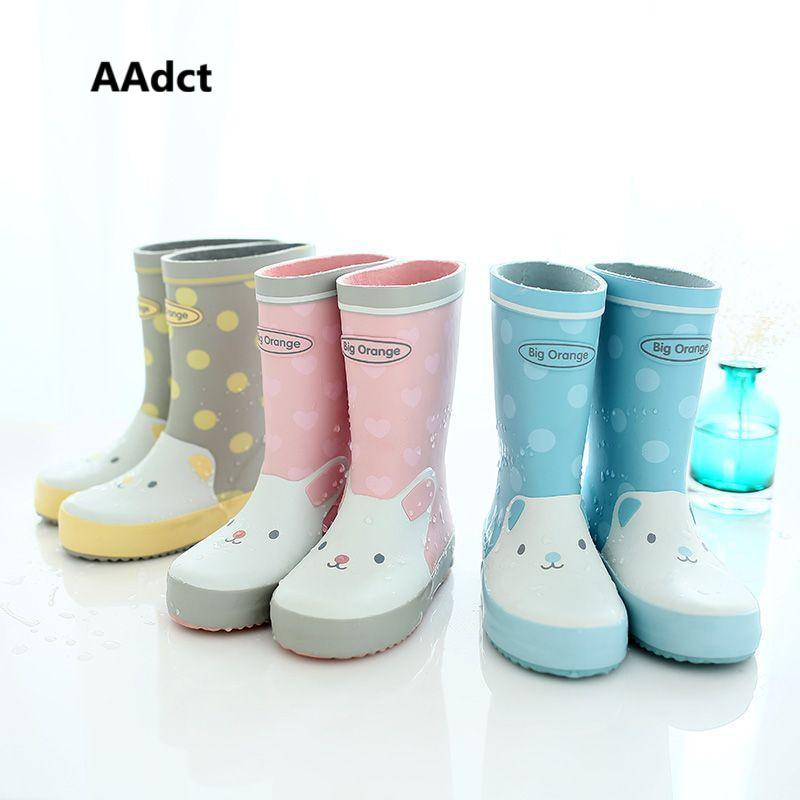 AAdct Fashion anti slippery rain boots kids student lovely girls rain boots Cartoon children shoes boys rainboots soft