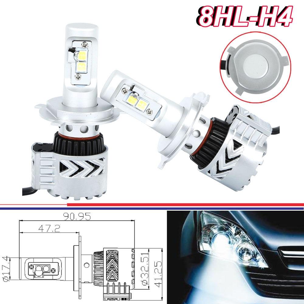 ФОТО Set 72W 12000LM 8th LED Headlight Kit H4 Low High Beam Bulb 6500K Car Motorcycle