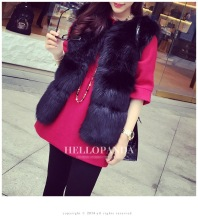 Faux Fur Vest Women Black 2016 NEW Mink Fox Fur Loose Coat Warm Winter Fur Jacket Artificial Fur