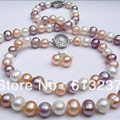 Fashion 7-8mm natural freshwater cultured round multicolor pearl diy necklaces bracelets earrings sets making 18 inch MY4564