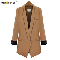 HanOrange Spring Autumn OL Long Sleeve Slim Cambric Cotton Blends Women Long Blazer Jacket Black/Camel