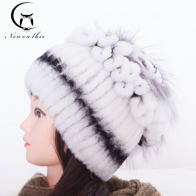 Sale 2016 Winter Hats For Women Fur Knitted Rex Rabbit Real Fur Hat With Fox Fur Flower On Top Free Size Casual Warm Women's Hat