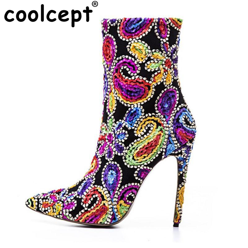 Coolcept Size 33-43 Women High Heel Boots Women Beading Half Mid Calf Short Boots Women Autumn Colorful Shoes Woman Footwear spring autumn women thick high heel mid calf boots platform woman short boots high heels shoes botas plus size 34 40 41 42 43