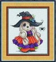 Rankdarbiai, DIY kryžminiai stitch, rinkiniai siuvinėjimui rinkiniams, 11CT ir 14CT, Helovinas mažai triušis
