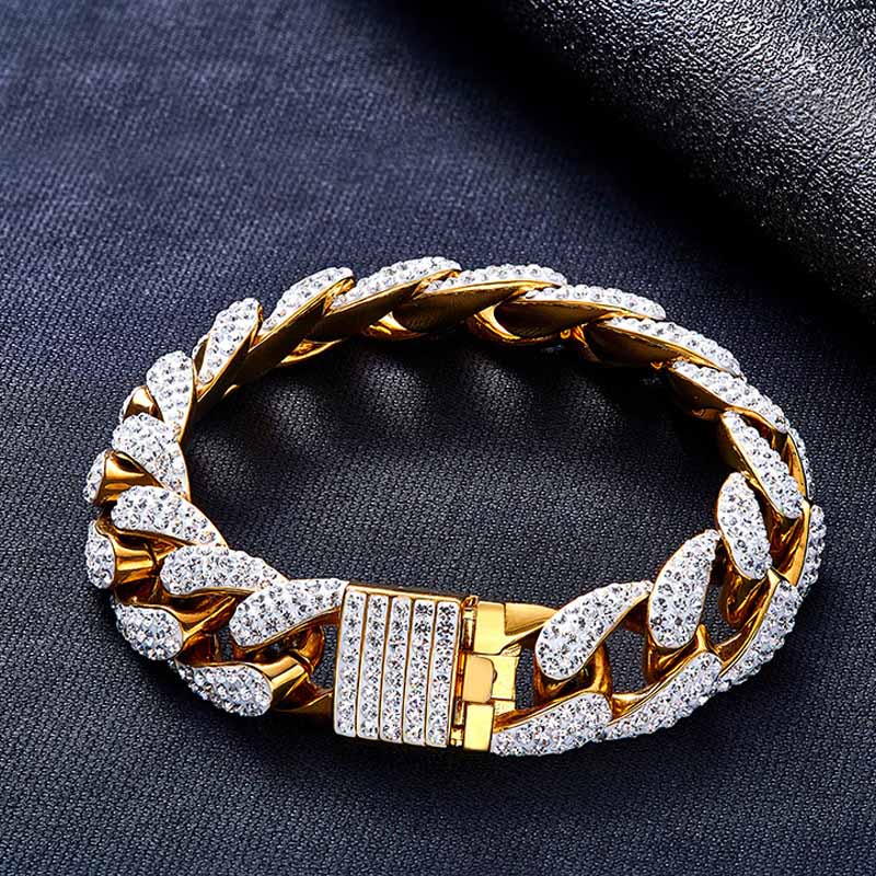 c127fa10c0f34 15mm Mens Chunky Bling Iced Zircon Miami Cuban Link Bracelet Bling Hip hop  Jewelry Gold AAA