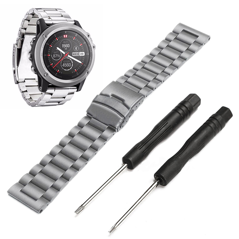 Black Silver Stainless Steel Replacement Wrist Band Sport Safety Wrist Support Wristband Strap for Garmin Fenix 3/3 HR with Tool