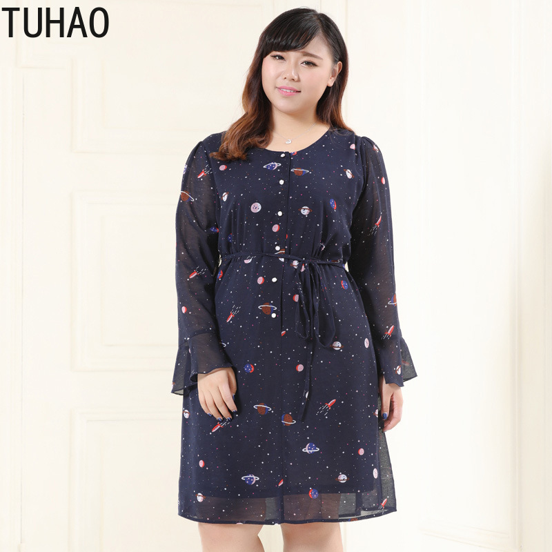 TUHAO 2019 spring women chiffon dress plus size <font><b>5XL</b></font> <font><b>6XL</b></font> <font><b>7XL</b></font> <font><b>8XL</b></font> <font><b>9XL</b></font> 10XL Flare sleeve female office vintage women's dresses MS07 image