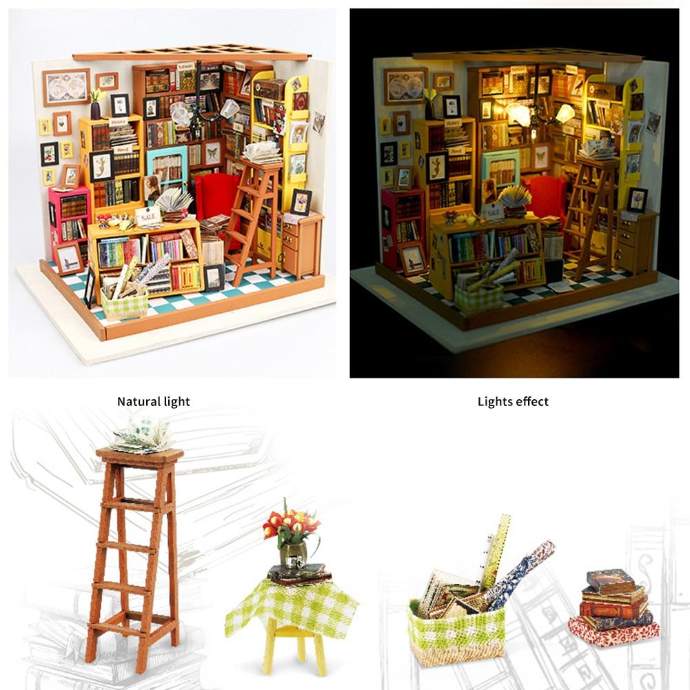 3D DIY House Miniature Wooden Puzzle Sam/'s Study Handmade Doolhouse w LED GIFT