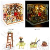 DIY Sam Study Room Wood Figurine Miniature Kits Dollhouse Christamas Gift For Kids Sculptures Home Decor Kits Dollhouse