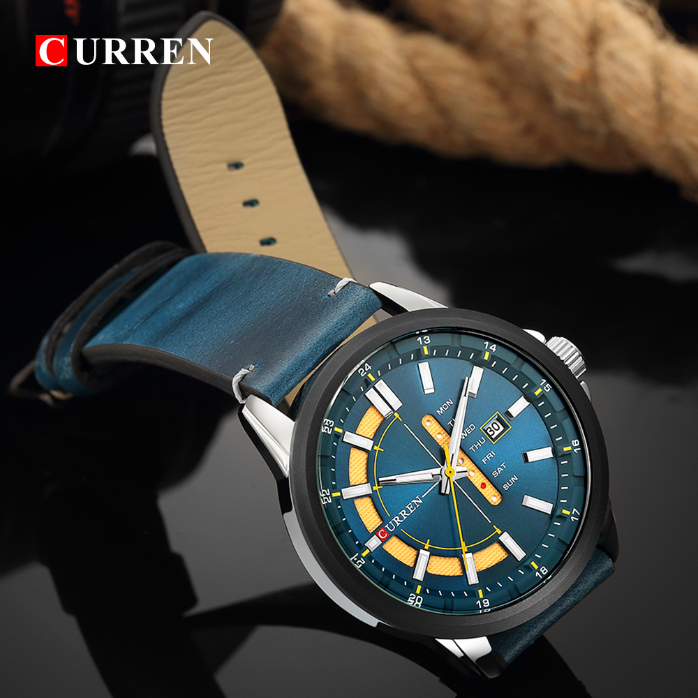 New Mens Watches CURREN Unique Fashion Design Dial Quartz Wristwatch Leather Strap Watch Display Date and Week Clock Green Reloj Men Brands