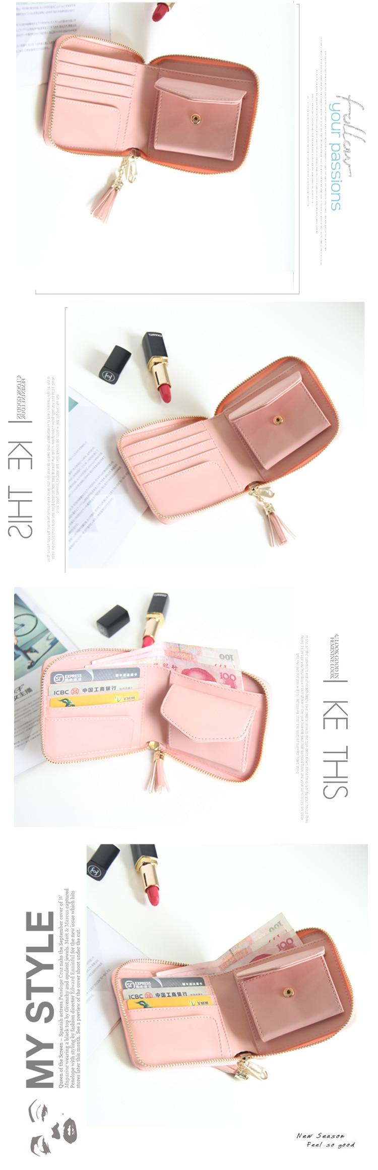 3407edc8fe806 Women Wallet Mack Up Purse Candy Color Wallet Card Holder Purse Tassel  Female Clutch Chain Mini Purses ID Billetera Hombre