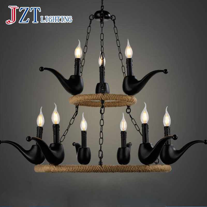 T Best Price American Country Pendant Lights For Foyer Black Iron Retro Lamps With LED Bulbs For Bar Two Hemp rope Ring best price 5pin cable for outdoor printer